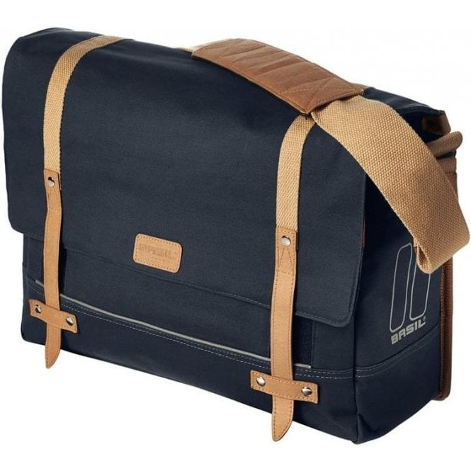 Basil Portland Messenger Bag 16L And Pouch With Raincover Dark Blue